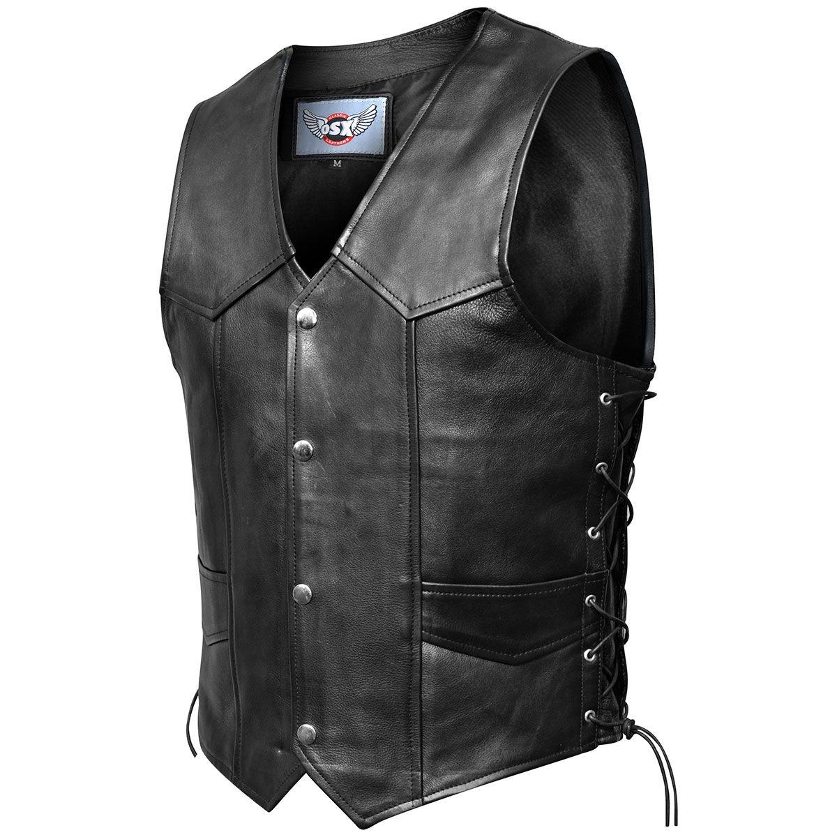 veste cuir sans manches mec osx fresco vestes blousons rock a gogo. Black Bedroom Furniture Sets. Home Design Ideas