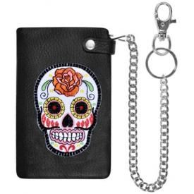 Portefeuille CUIR - Mexican Skull White