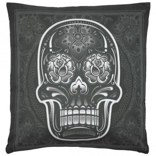 coussin chicano t te de mort mexicaine rock a gogo. Black Bedroom Furniture Sets. Home Design Ideas