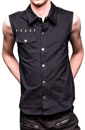 chemise homme queen of darkness sleeveless button down. Black Bedroom Furniture Sets. Home Design Ideas