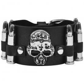 Bracelet CUIR - Skull & Bullets