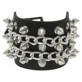 Bracelet CUIR - Spikes & Chains