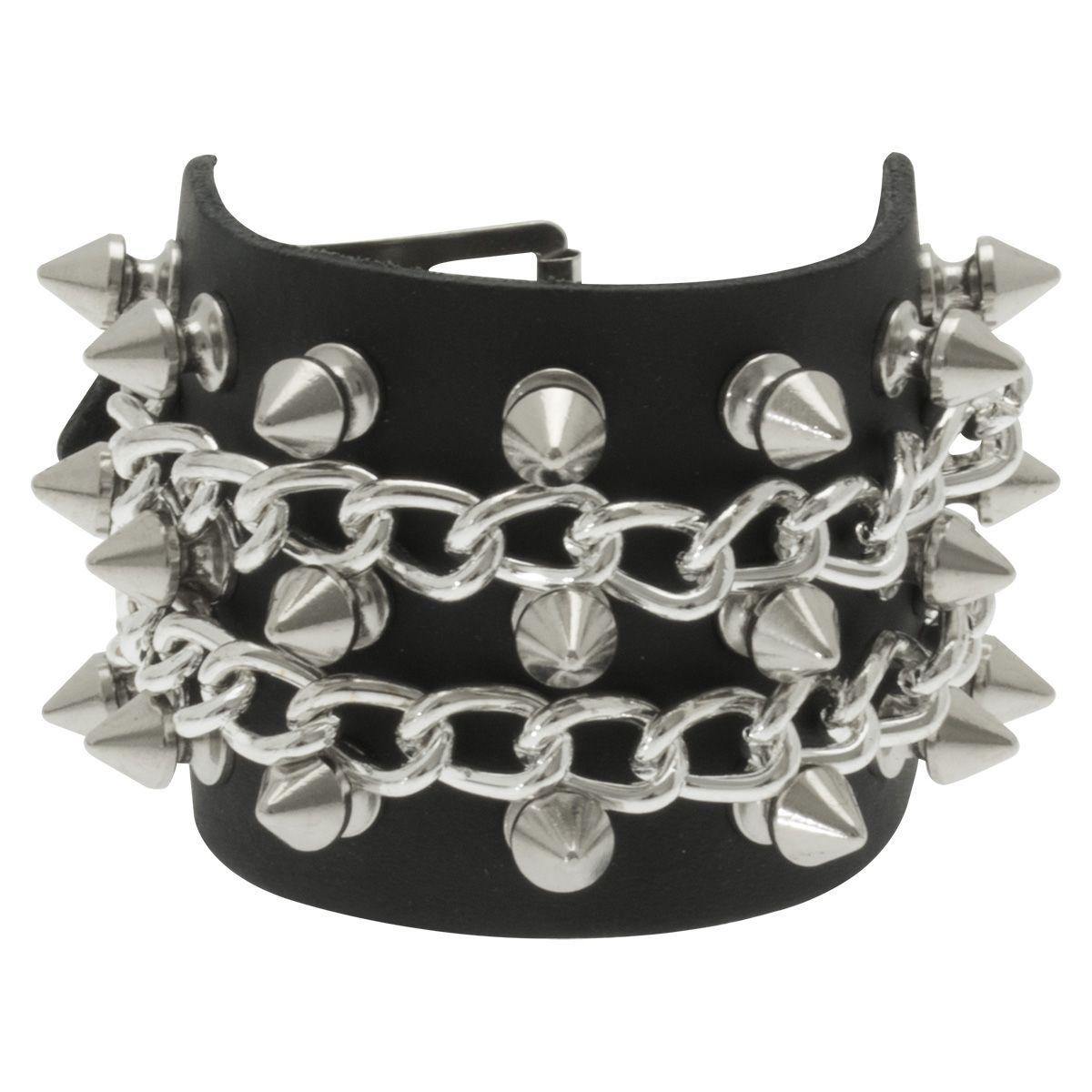 Image de Bracelet CUIR - Spikes & Chains