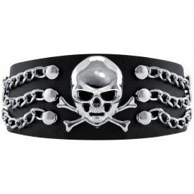 Bracelet CUIR - Tête de Mort  Chaînes & Rivets