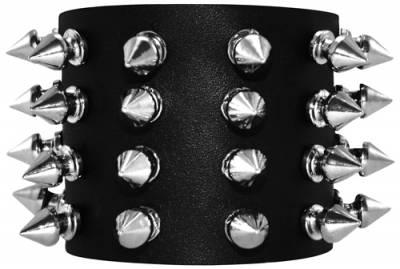 Image de Bracelet CUIR - 4 Rangs de Spikes