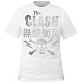 T-Shirt Mec THE CLASH - Vintage Skull White