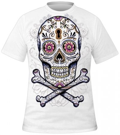 t shirt homme tattoo wear floral skull rock a gogo. Black Bedroom Furniture Sets. Home Design Ideas