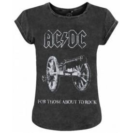 Tee Shirt Femme AC/DC - For Those About To Rock Acid Wash