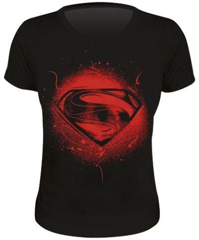 tee shirt femme superman man of steel rock a gogo. Black Bedroom Furniture Sets. Home Design Ideas