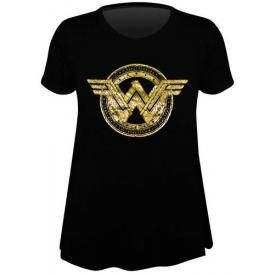 Tee Shirt Femme WONDER WOMAN - Logo Or