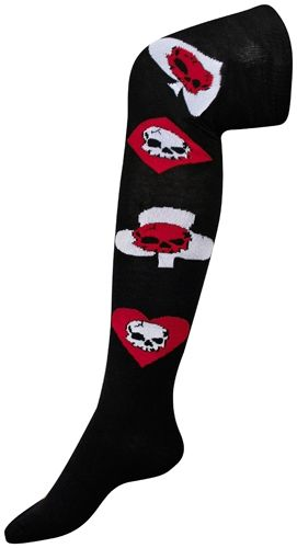 chaussettes longues macahel skulls on aces chaussettes rock a gogo. Black Bedroom Furniture Sets. Home Design Ideas