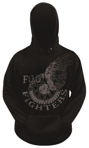 Officiel foo fighters-winged roue-men /'s black pullover sweat à capuche