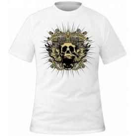 T-Shirt Mec ROCKABLOK - New Skull White