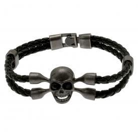 Bracelet CUIR - Tête Pirate Métal