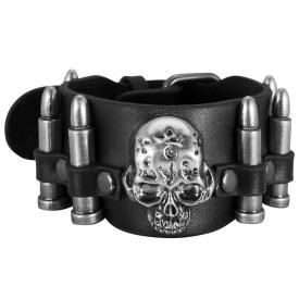 Bracelet CUIR - Skull And Bullets